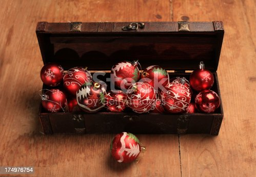 Baubles in a treasure chest on a grunge wooden background