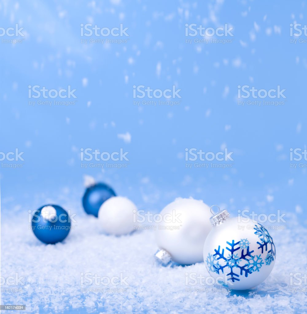Baubles on Blue royalty-free stock photo