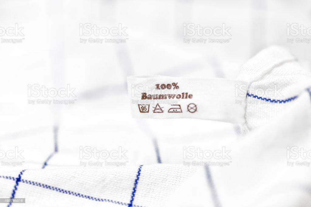 100% Baumwolle cotton washing label stock photo