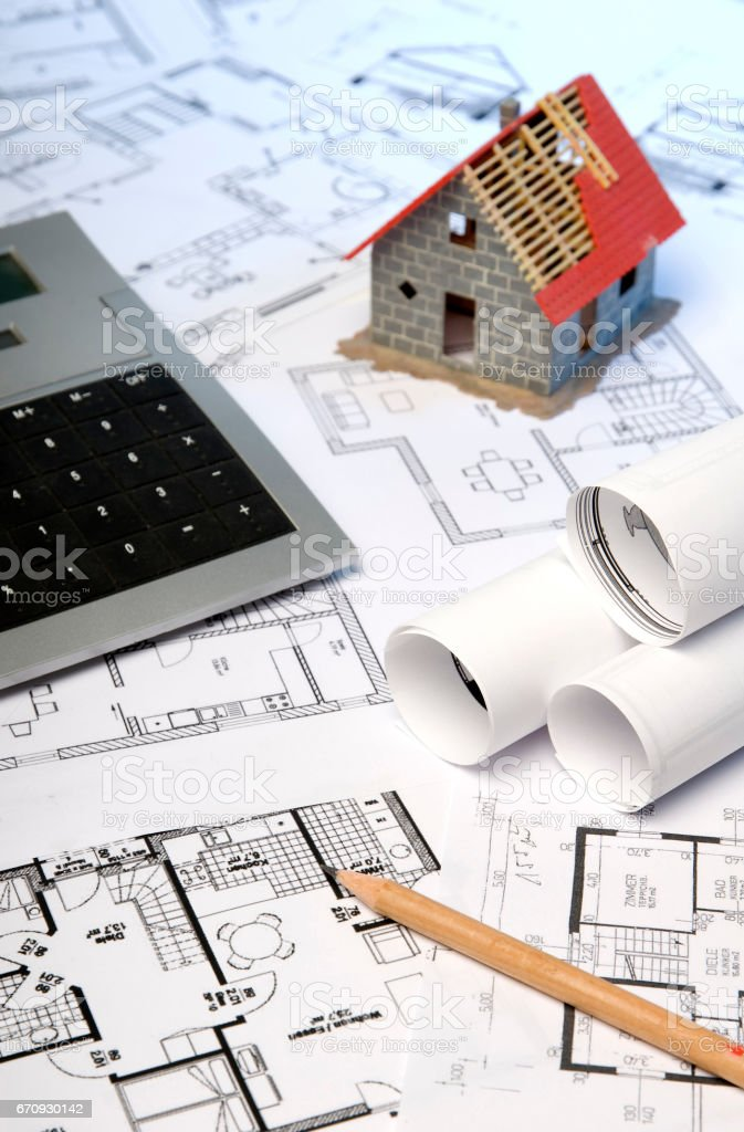 Baupläne und Rohbau stock photo