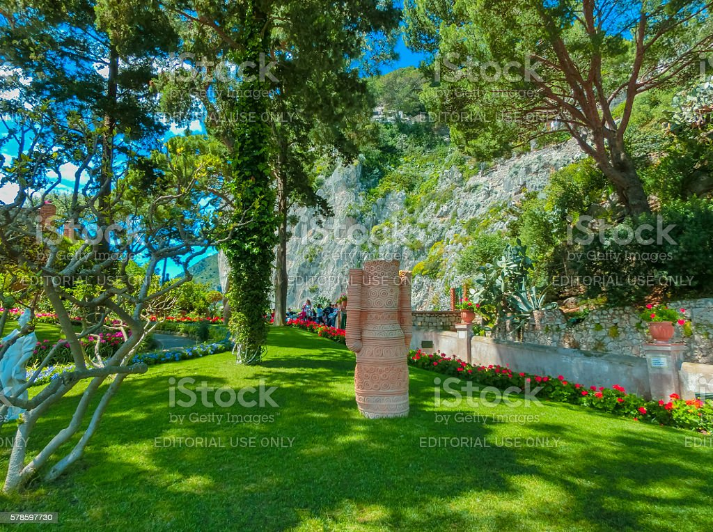 Capri, Italy - May 04, 2014: Bautiful public garden in stock photo
