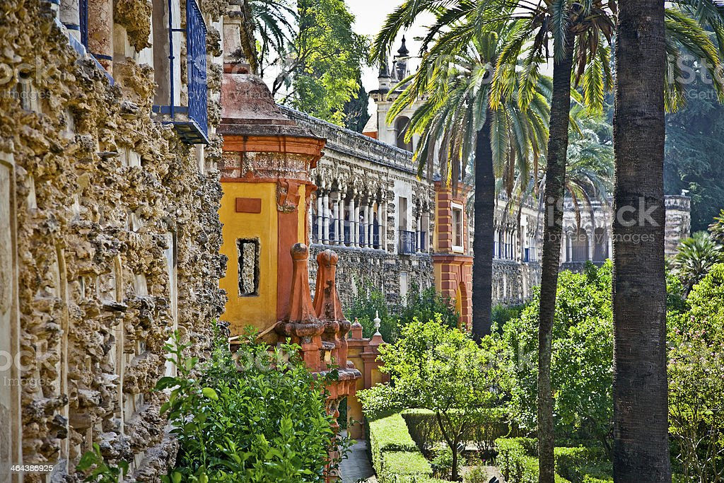 Bautiful Real Alcazar gardens in Seville, Spain stock photo