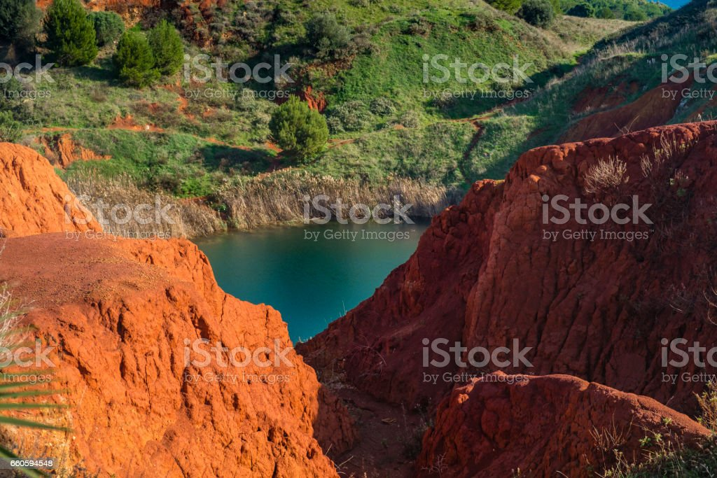 Bauxite Mine with Lake at Otranto. Apulia, Italy - Photo