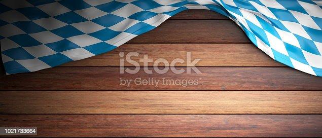istock Bavaria flag for Oktoberfest. Wooden background with copyspace. 3d illustration 1021733664