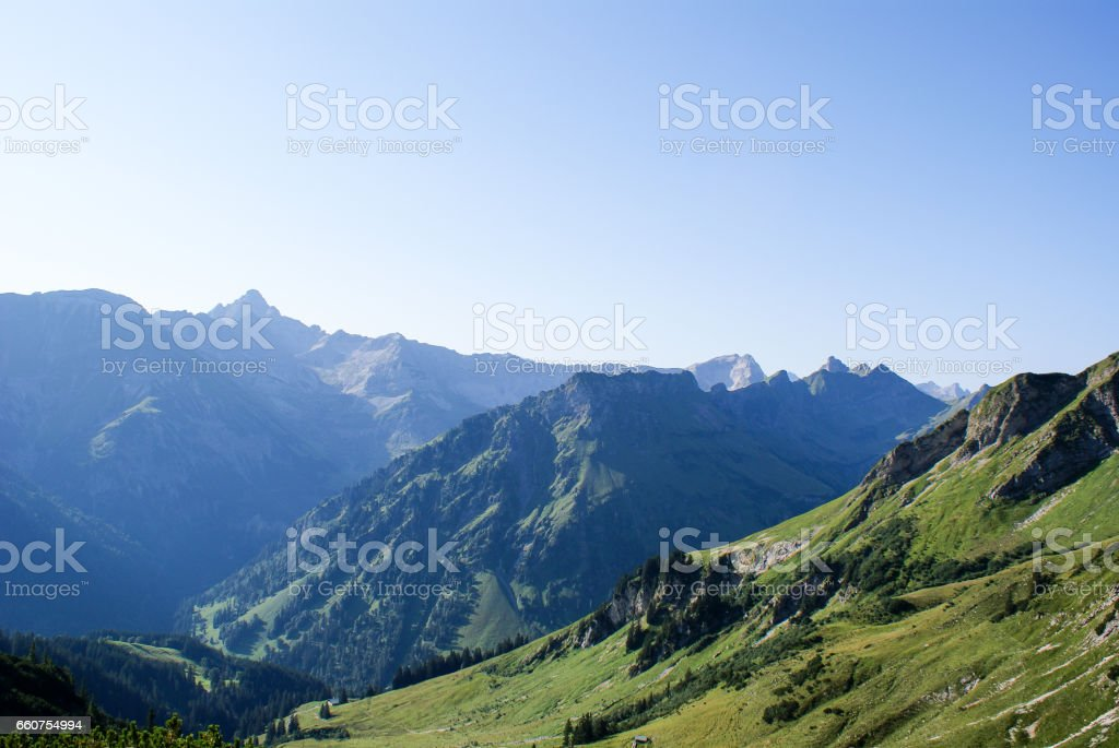 bavarian alps with green mountains stock photo