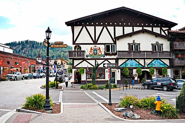 bavarian architecture in the streets of leavenworth - leavenworth washington stock photos and pictures