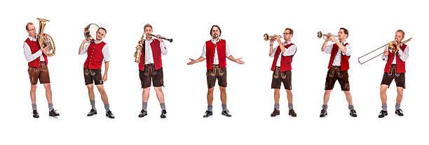 bayerische/austrian brass-band - bayerische tracht stock-fotos und bilder