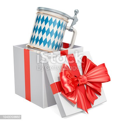 istock Bavarian beer mug with cap inside gift box, gift concept. 3D rendering isolated on white background 1043203852