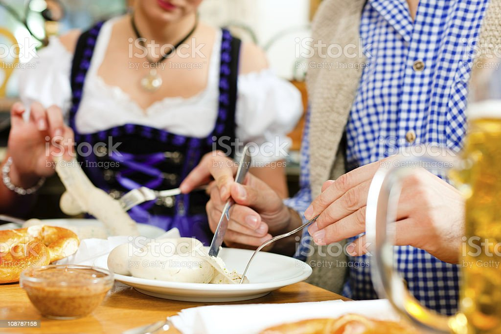 Bavarian breakfast with white veal sausage stock photo