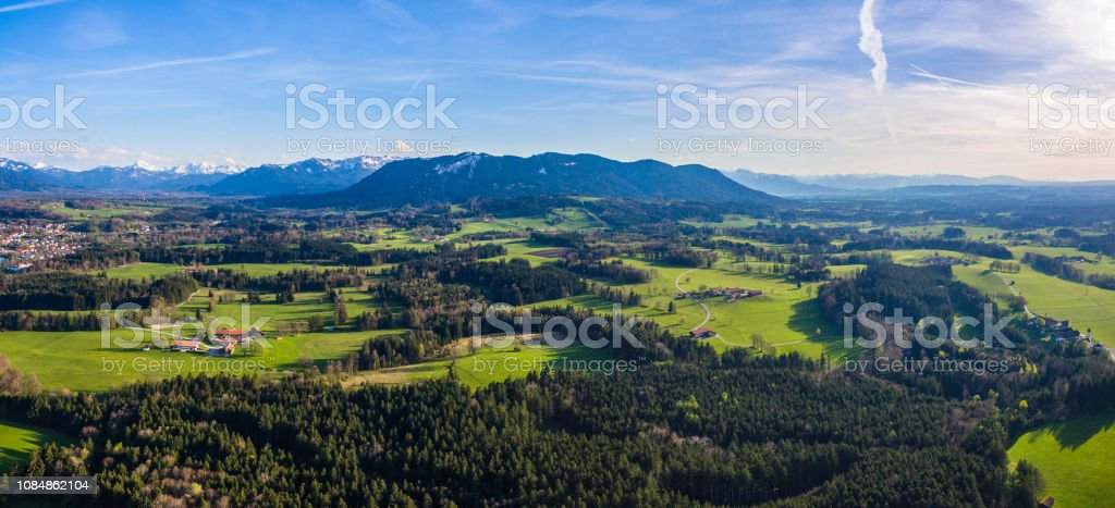 Bavarian conifer forest drone aerial alps mountains softwood...
