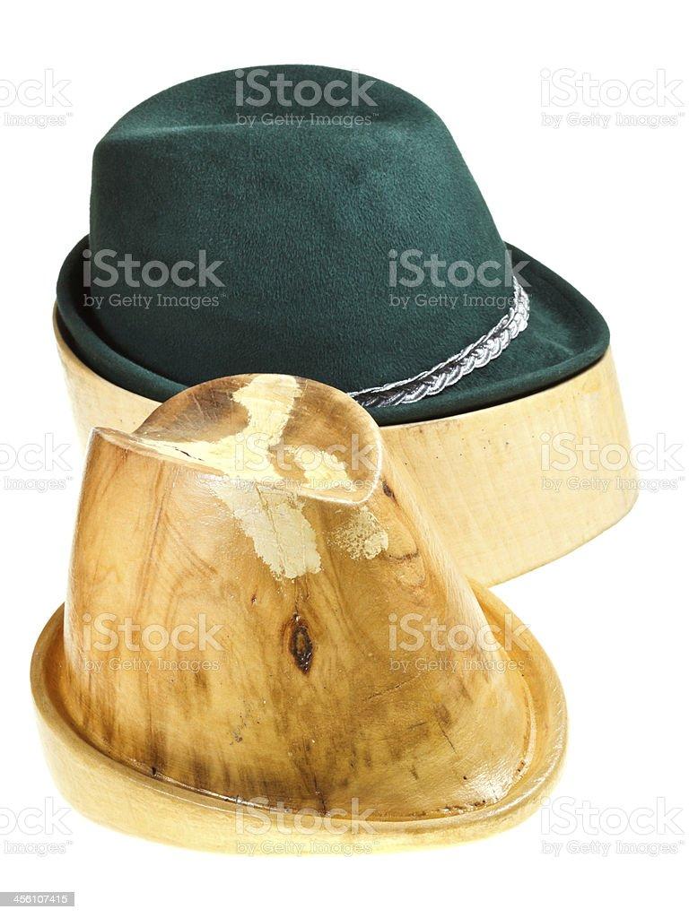 bavarian felt hat on linden wooden block royalty-free stock photo