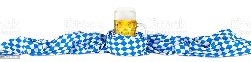 Bayerischen Flagge und Bier – Foto