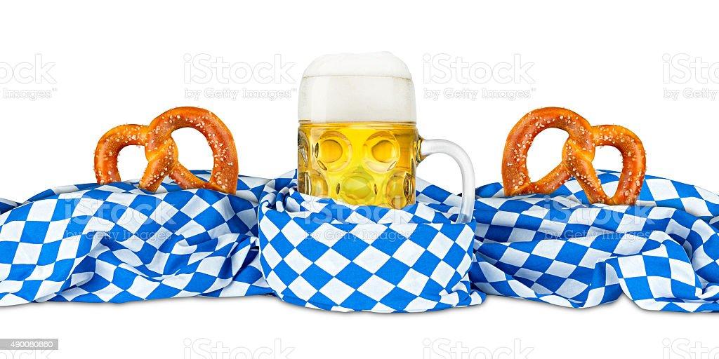 BREZEL bayerischen Flagge und Bier – Foto