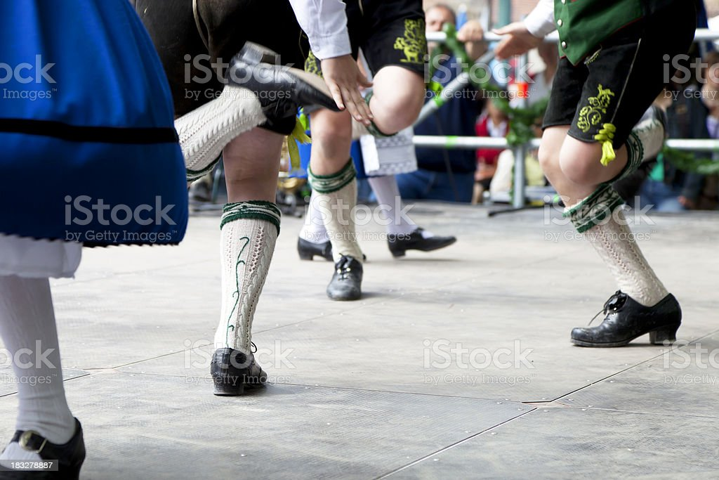 bavarian folk dance at oktoberfest in munich stock photo
