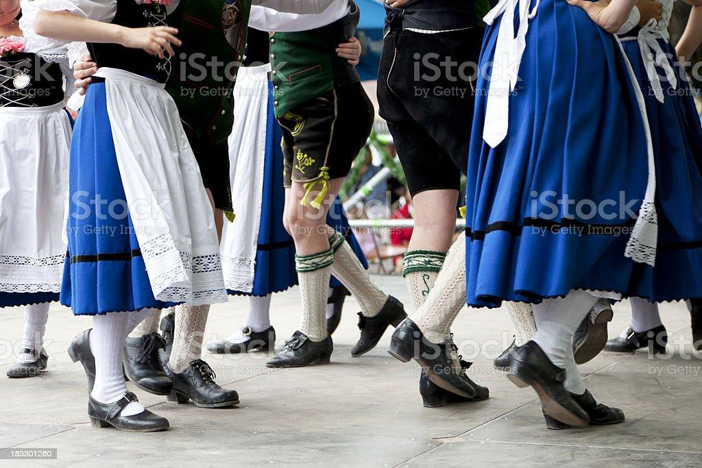 bavarian folk dance at oktoberfest stock photo