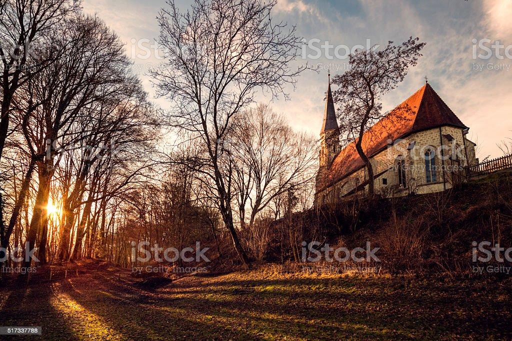 bavarian gothic little church stock photo