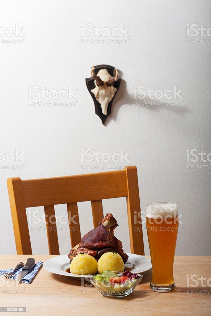 bavarian knuckle of pork stock photo