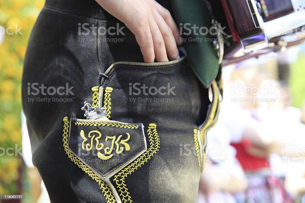 bavarian lederhose - leather pants stock photo