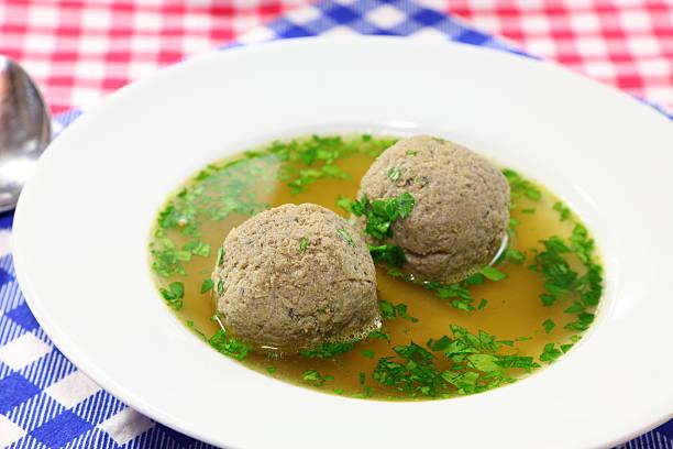 bavarian liver dumplings or leberknödel - dumplings stock photos and pictures