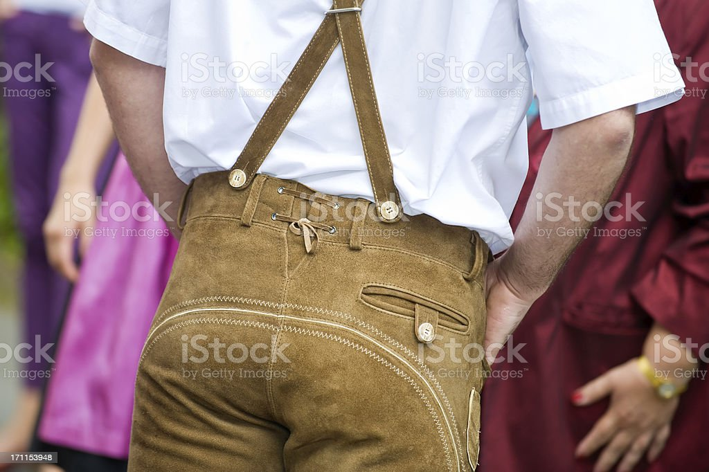 Bavarian Oktoberfest Leather trousers - Lederhose stock photo