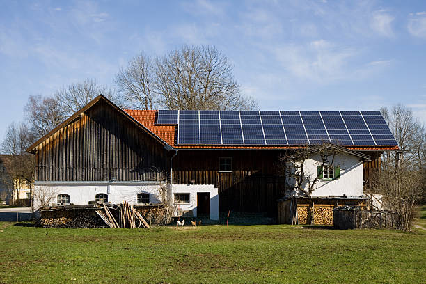 bavarian photovoltaic istallation stock photo