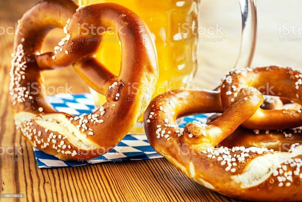 Bavarian Pretzel and with beer, Oktoberfest stock photo
