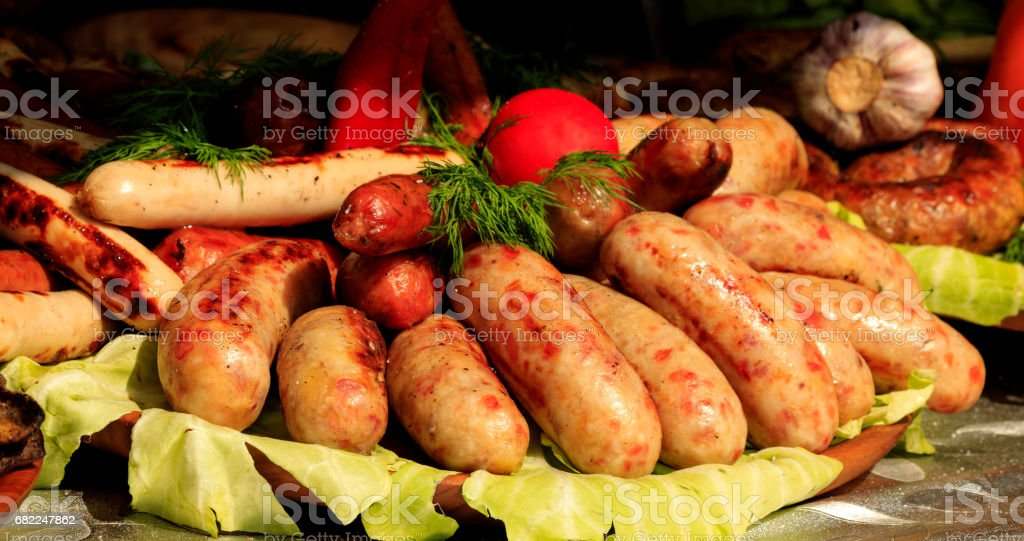Bavarian sausages on the table. stock photo