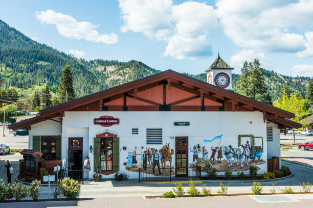 bavarian village shop in washington state called twisted couture - leavenworth washington stock photos and pictures
