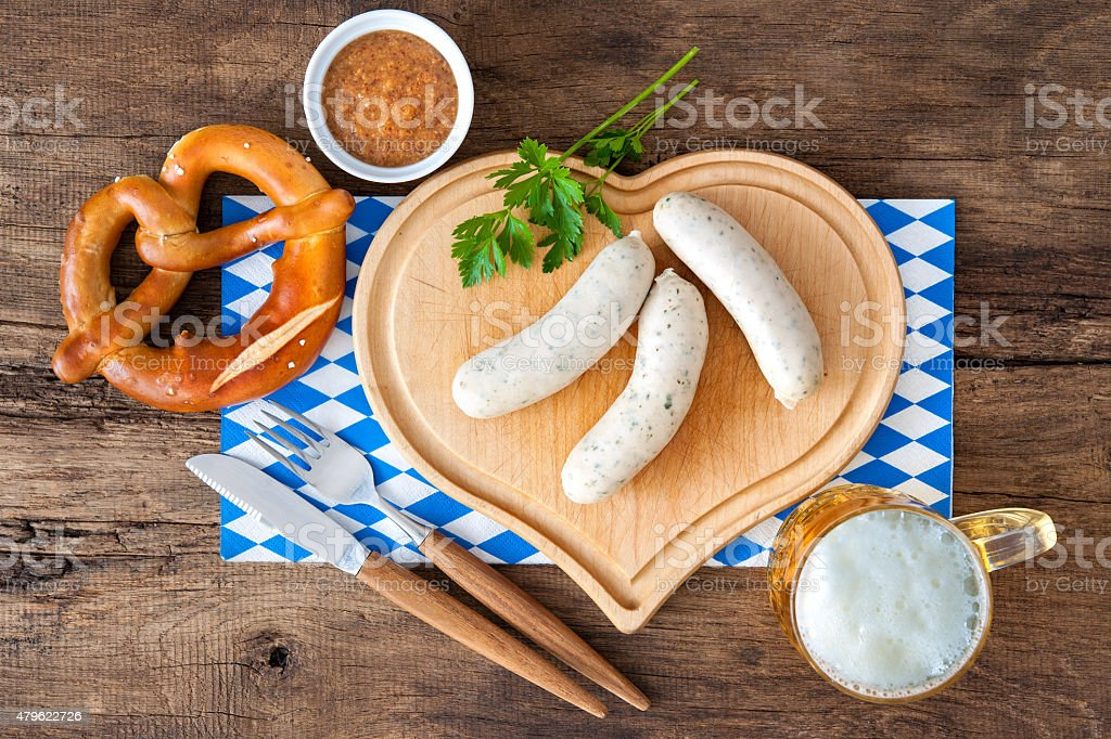 Bavarian white sausage stock photo