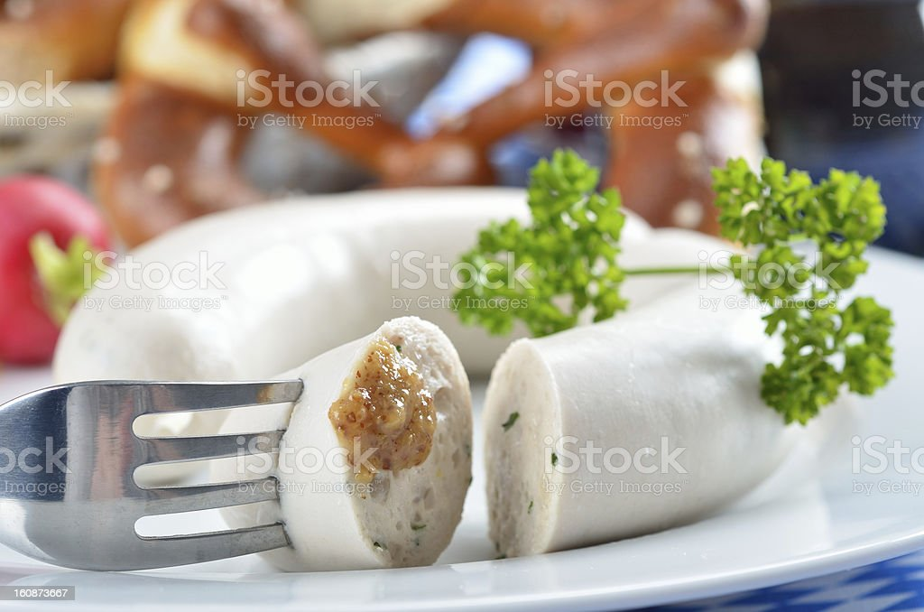 Bavarian white sausages stock photo