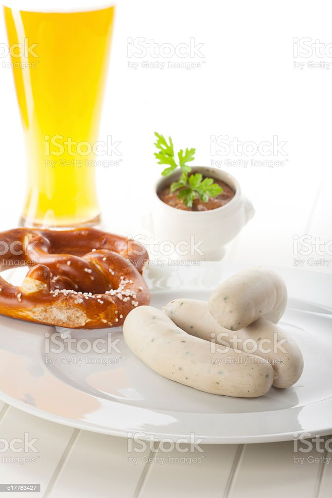 bavarian white sausages with beer stock photo