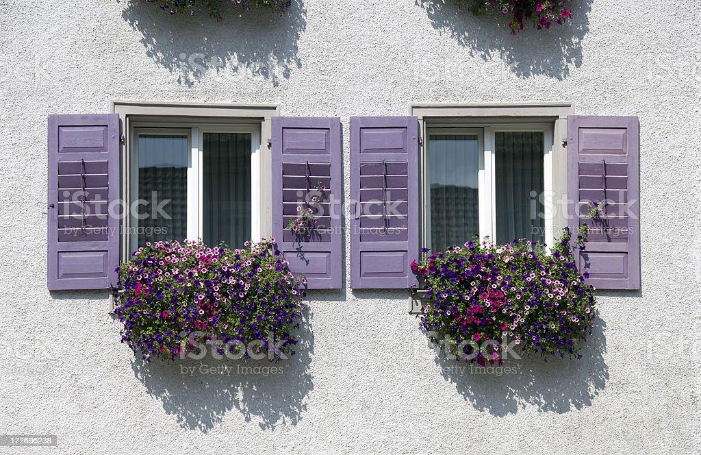 Bavarian windows with geraniums royalty-free stock photo