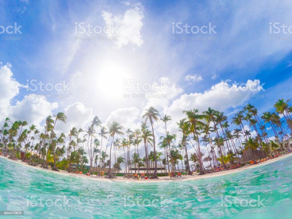 Bavaro beach in Dominicana Republic in Punta Cana region stock photo