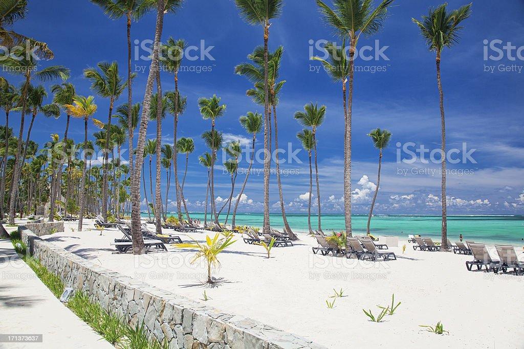 Bavaro beach on a sunny day in Punta Cana Ocean view on the Bavaro beach in Punta Cana. Dominican republic Bay of Water Stock Photo