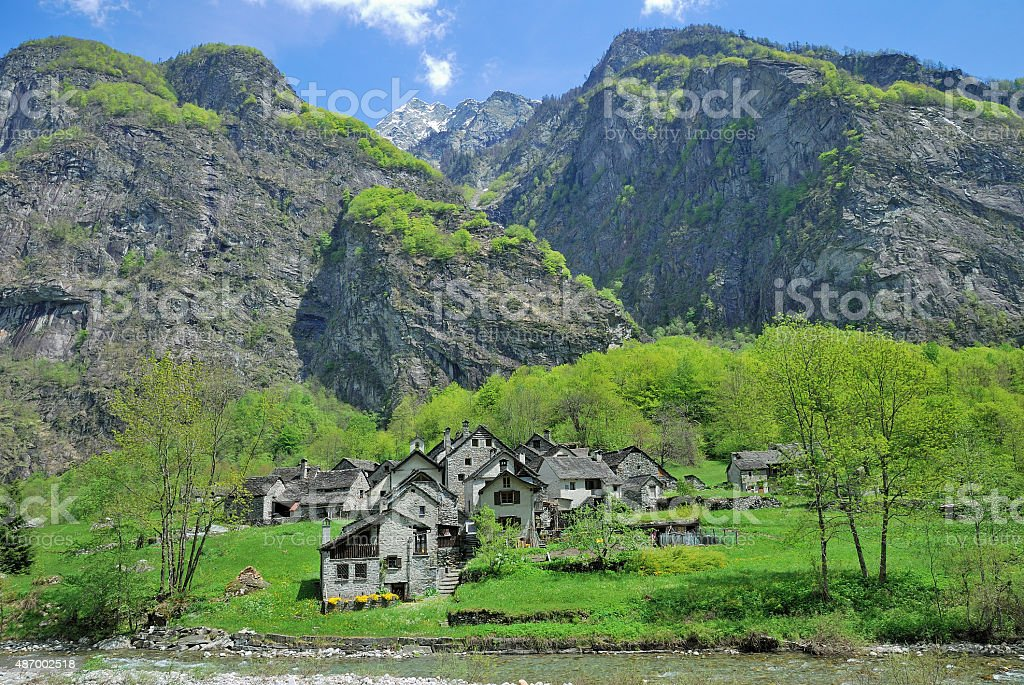 Bavona Valley,Locarno,Ticino Canton,Switzerland stock photo