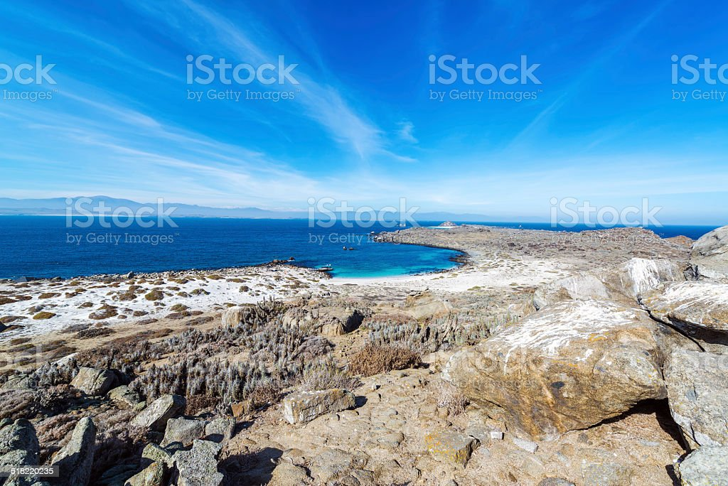 Bay and Blue Water on Damas Island stock photo