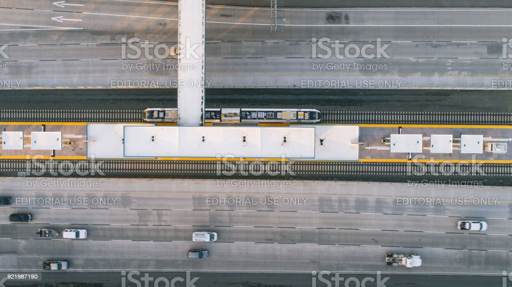 Bay Area Rapid Transit (BART) train is seen passing through the Antioch Station in Antioch, California, January 25, 2018 stock photo