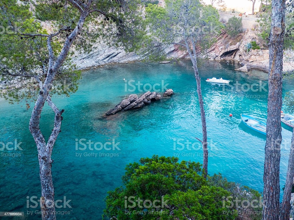 Bay at mallorca with boats stock photo
