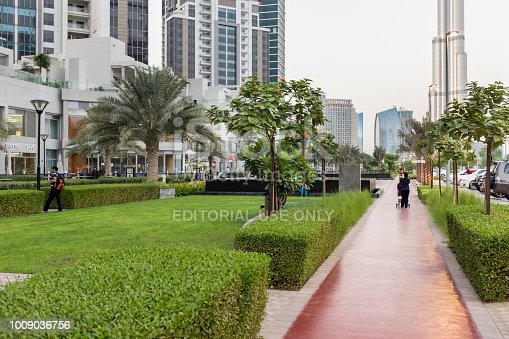Bay Avenue Park and jogging track at the Executive Towers residential development at Business Bay, Dubai, UAE