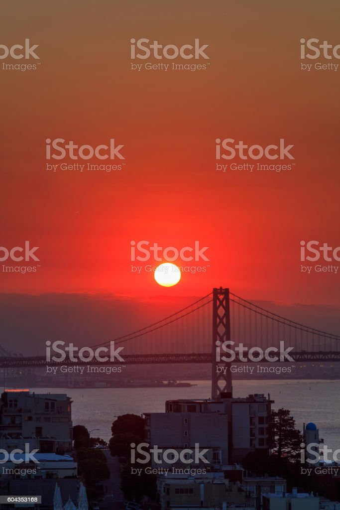 Bay Bridge and San Francisco downtown at Sunrise stock photo