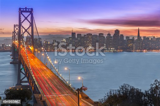 Bay Bridge and San Francisco skyline at sunset