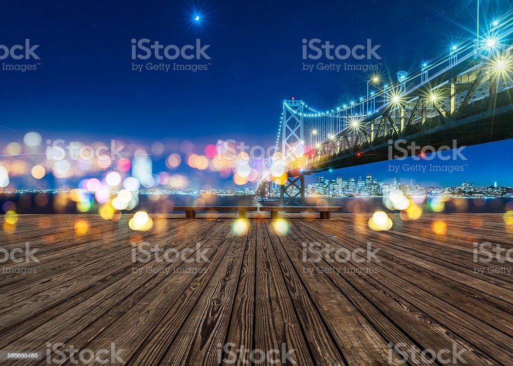 Bay Bridge and skyline of San Francisco at night stock photo