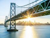 Bay Bridge and skyline of San Francisco, USA.