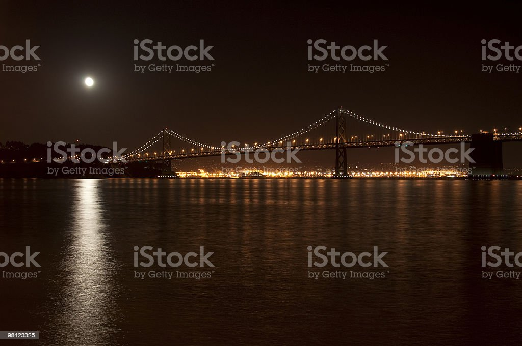 Bay Bridge at Night with the Moon royalty-free stock photo