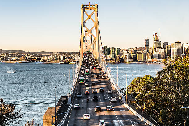 bay bridge at rush hour - dally stock pictures, royalty-free photos & images