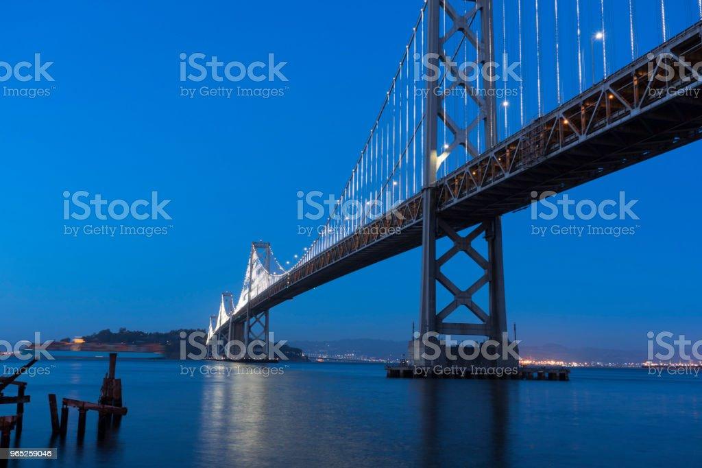 Bay Bridge at twilight time in San Francisco zbiór zdjęć royalty-free