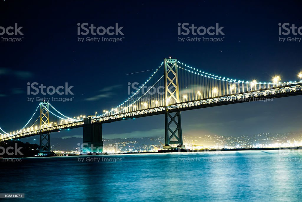 Bay Bridge by night royalty-free stock photo