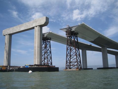 Modern Bay Bridge Partially Built - Bay Area, California