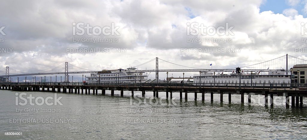 Bay Bridge Panorama with paddle steamers stock photo