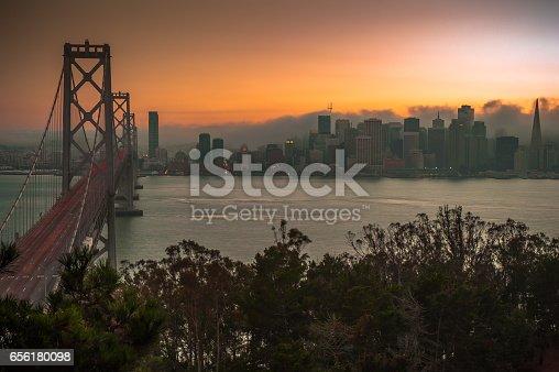 Evening sky from Treasure Island, view of Bay Bridge